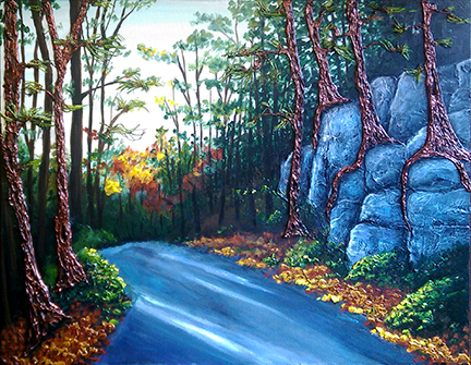 """""""Muse with Creation"""" acrylic on canvas - 24""""h x 30""""w -$720"""
