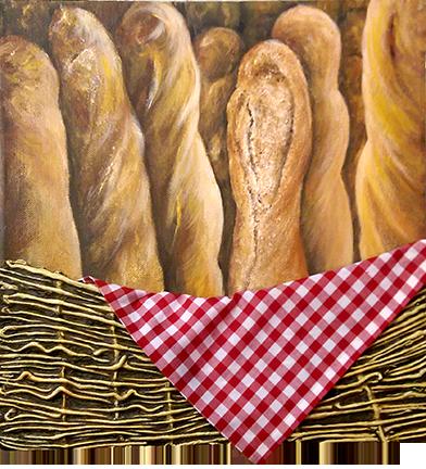 """""""Pain De Paris"""" acrylic on canvas - 12 x 12 - $150"""